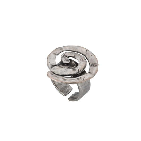 Spiral ring – Brass, antique silver plated