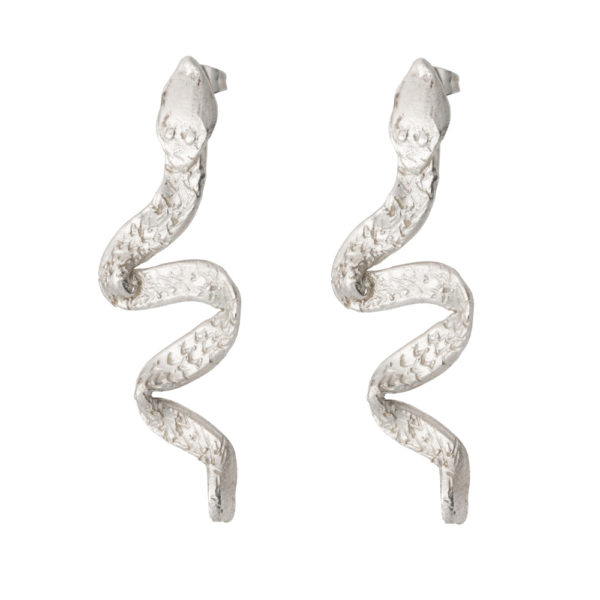 Snake earrings – Brass, silver plated