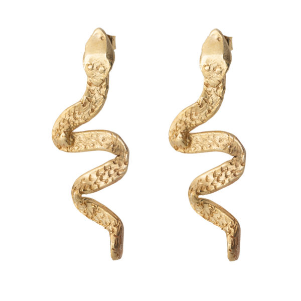 Snake earrings, Brass, gold plated