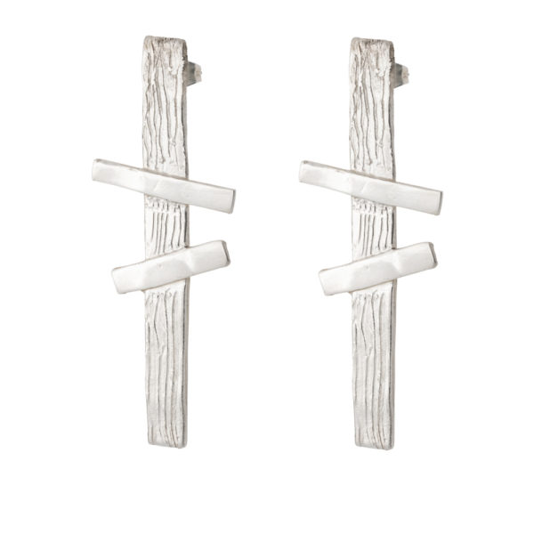 Double Cross earrings – Brass, silver plated