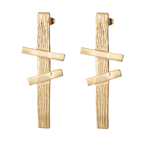 Double Cross earrings – Brass, gold plated