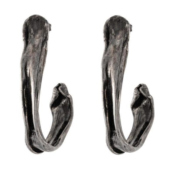Hook earrings – Brass, antique silver plated