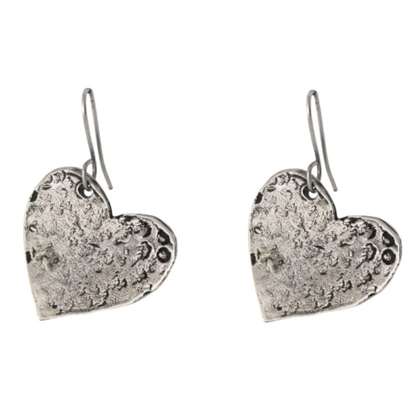 Hearts earrings – Brass, antique silver plated
