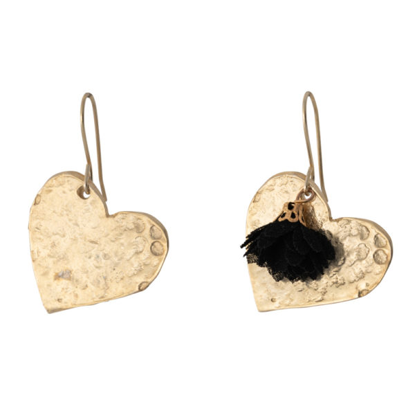 Hearts earrings – Brass, gold plated