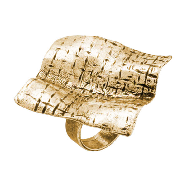Tetragon ring – Brass, gold plated