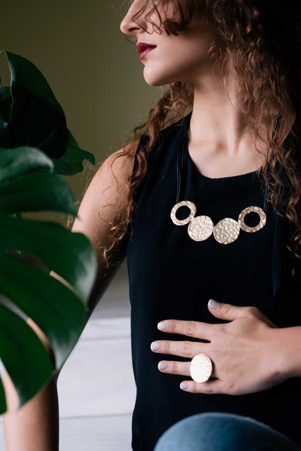 Kypseli Hera necklace & ring - gold plated brass