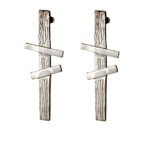 Double Cross earrings – Brass, antique silver plated