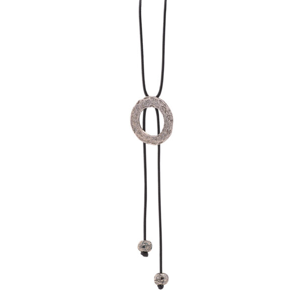 Hestia pendant - brass, antique silver plated