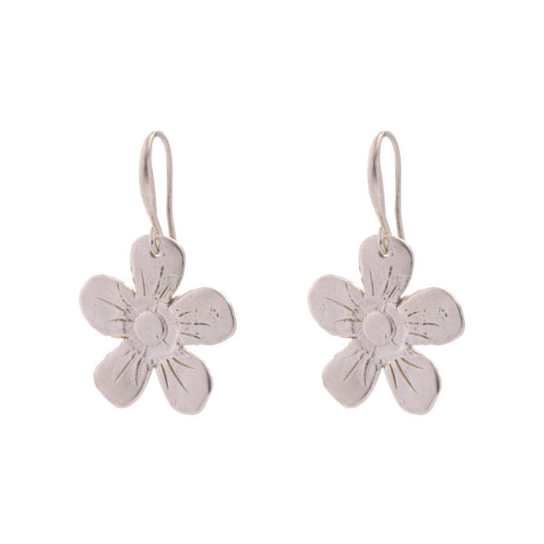 Flower Earrings - Brass, Silver Plated