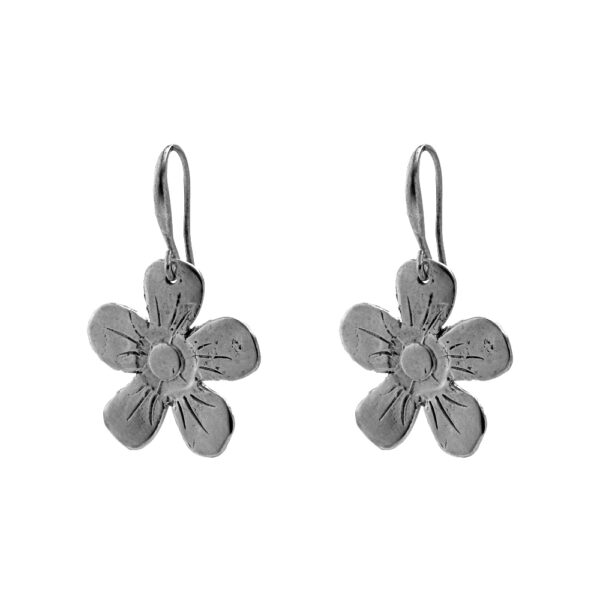 Flower Earrings - Brass, Antique Silver Plated