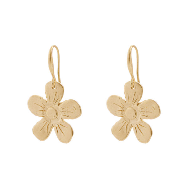 Flower Earrings - Brass, Gold Plated