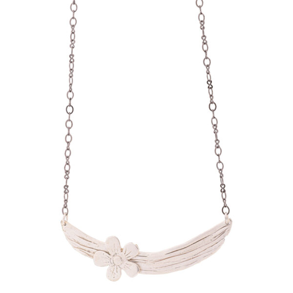 Flower Necklace - Brass, Silver Plated