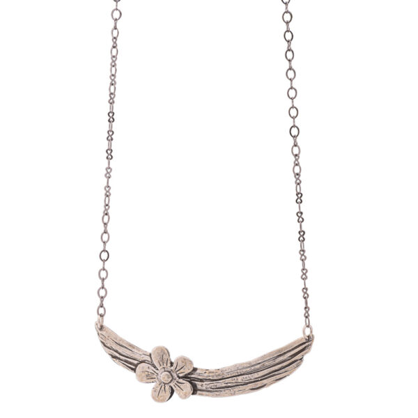 Flower Necklace - Brass, Antique Silver Plated