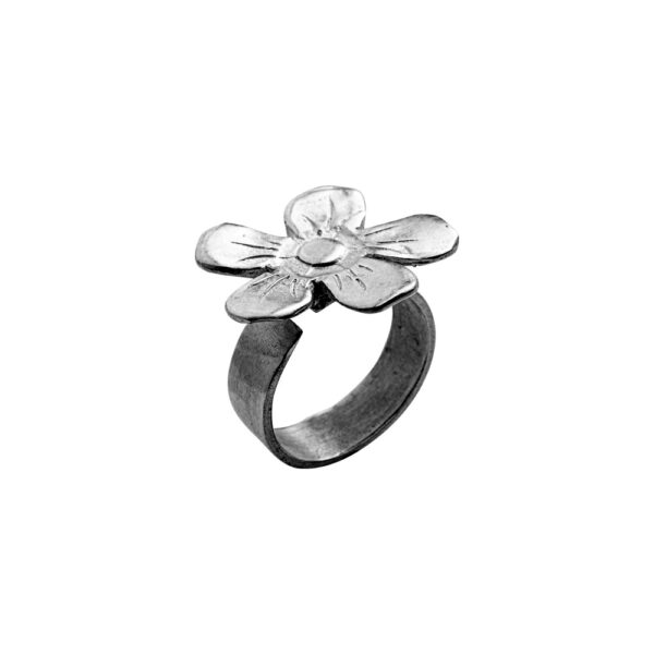 Flower Ring - Brass, Antique Silver Plated
