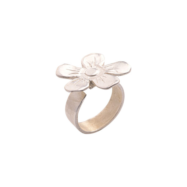 Flower Ring - Brass, Silver Plated