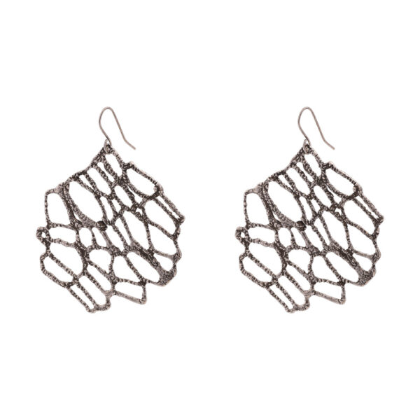 Νature earrings - brass, antique silver-plated